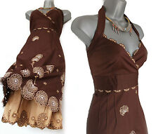 Karen Millen Brown Cream Embroidered Halterneck Gorgeous Prom Party Dress UK10