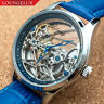 Mens Flywheel Bridge Movement Automatic Mechanical Watch Silver Blue Deployant