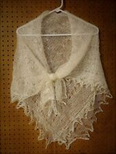 RUSSIAN ORENBURG LACE KNITTED SHAWL SCARF (PASHMINA) COLOR WHITE