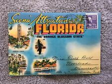 Postcard Folder ~ Florida scenic Attractions ~ with Stamp ~ 1954