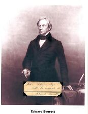 Edward Everett Autograph Senator Governor Massachusetts Ambassador United Kingdo