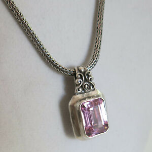 Tres Jolie Sterling Pink Tourmaline Pendant & Necklace 29.8g 17 in [6384]