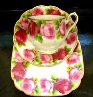 ROYAL ALBERT VINTAGE  OLD ENGLISH ROSE TRIO CUP & SAUCER SET PERFECT