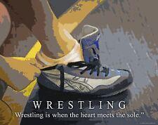 Wrestling Motivational Poster Art Dan Gable Cael Sanderson Youth Shoes MVP431