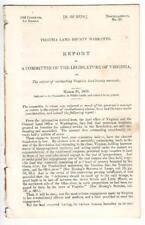 Report Legislature of Virginia Re: Virginia Revolutionary Land Bounty Warrants