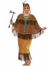 Native American Indian Warrior Pocahontas Adult Womans Costume-Plus Size
