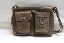 NWT Brighton Taupe  Croc Embossed Patent Leather Handbag w/Shoulder Strap