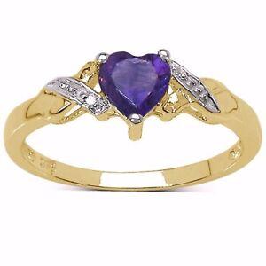 9CT GOLD SMALL HEART SHAPED AMETHYST & DIAMOND ENGAGEMENT RING SIZES HIKLMOPRST