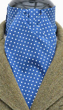 Ready Tied Royal Blue & White Pin Dot Coton Riding Stock - Dressage Hunting Show