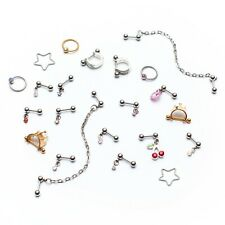 Helix Daith Brow Bar Stud  Ear Cuff Chain Ring Gem Star Crown Gold Colour Lot 22