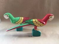 Parrots Wooden FOLK ART Carved Marked JUAN PUELLO R.D. Set Of 2