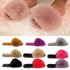 Zapatillas para mujer señoras Furry ribete de piel de invierno Dormitorio Puntera Abierta Mulas Tallas 3-8