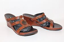 PAUL GREEN Leder Sandalen 40 Schuhe leather sandals UK7 WEDGES Keilabsatz COGNAC