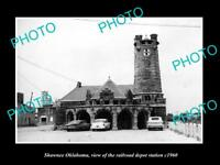 OLD LARGE HISTORIC PHOTO OF SHAWNEE OKLAHOMA RAILROAD DEPOT STATION c1960