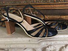 Chanel Heels Pumps Leather Size 9/Euro 39 Navy Blue w/ Ankle Straps EUC wBox