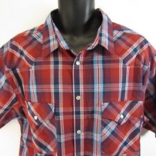 High Noon Pearl Snap Plaid Shirt XL Western Rockabilly Rodeo Red White Blue