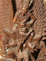 "AMAZING Vintage Carved Wood Sculpture Vishnu Riding Garuda 18""x9""Inches Fine Art"
