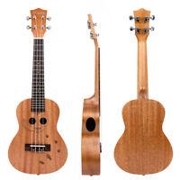 "Kmise Mahogany Concert Ukulele 23"" Hawaii Guitar Bridge Carved Cat Gift"