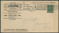 "1905 #300 ON ILLUST MEDICAL ADVT COVER ""THE INHALER Co"" COHOES, NY CDS BS1739"