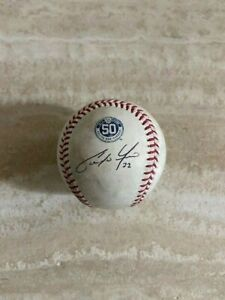 Christian Yelich Brewers 50th Anniversary Ball Signed Game Used Baseball-MLB JSA