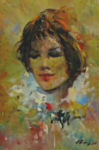 Signed - Portrait of a Woman with Red Lips And Brown Hair