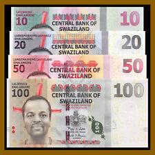 Swaziland 10 30 50 100 Emalangeni (4 Pcs Set), 2010-2015 P-36/37/38/New Unc