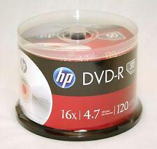 50PK HP Logo 16X DVD-R DVDR Blank Disc Storage Media 4.7GB with Cake Box