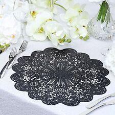"6 Black 15"" wide Flower Lace Doily Round Vinyl Placemats Wedding Decorations"