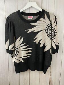 Kate Spade  Falling Flower Puff Sleeve Sweater Black Rose Gold NEW $228 Sz XXL