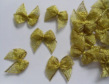 "1"" Metallic Gold Ribbon Bow Appliques Diy Packing- Lots 30 Pcs (R0153)"