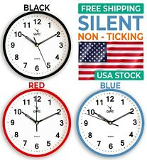 9 Inch Wall Clock Round Silent Non Ticking Quartz Battery Operated Easy to Read