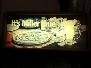 """Miller High Life Beer sign lighted """"It's Miller Time""""(Sausage Pizza Yummy!) RARE"""