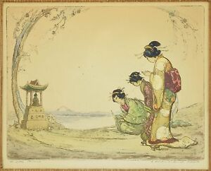 """Vintage 1920's Hand Colored Etching """"The Little Shrine"""" 3 Geishas Praying signed"""