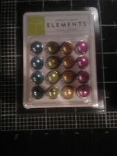 American Crafts elements Pearl brads 16 pc. - Brights blue green yellow pink