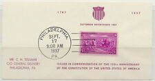 Us Constitution 150th Anniversary Commemorative Leaf 1937 Cancelled Nh