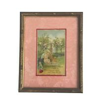 Vintage Valentine's Day Postcard Cupid Angel In Garden Matted Gilt Wood Frame