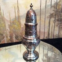 Vintage English Silver Plate Engraved Pepperette
