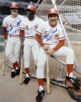 Pete Rose, Morgan & Bench HOF 8x10 SIGNED PHOTO AUTOGRAPHED ( Reds ) REPRINT