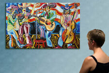 """78"""" - COUNTRY MUSIC - original cubist painting oil on canvas by ANNA !!!"""