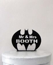 Custom Wedding Cake Topper - Batman Symbol and Mr & Mrs last name