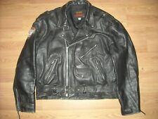 VTG MENS 48 XL HOT LEATHERS BLACK MOTORCYCLE BIKER HARLEY DAVIDSON PATCH JACKET