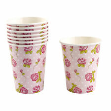 Vintage Rose Paper Cups x8 Pink Shabby Chic Afternoon Garden Tea Party