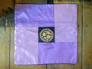 """Vintage boho look floral embroidered purple black silky cushion cover 16"""" x 16"""""""