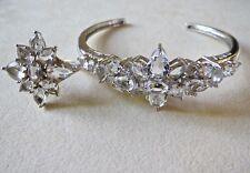 "Matching Sterling Silver Crystal 8"" Bracelet & Size 7.25 Ring SAI 21 Grams"
