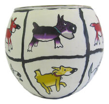 "Dog Design ""Dogs Life"" Glowing Glass Tea-light Candle Holder approx 9cm High"