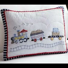 Pottery Barn Logan Train Baby Sham Quilted Blue Small Crib Pillow Toddler