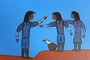 "1988 David Morrisseau 12""x16"" Ojibway People Original Painting Acrylic on Canvas"