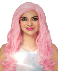 Ladies PINK Long Curly WIG Fashion Halloween Cosplay Costume Party Hair Wavy Wig
