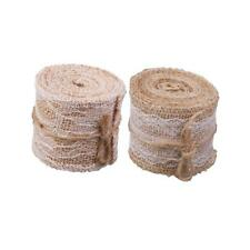 2 Rolls of 2m Rustic Lace Hessian Rope Burlap Rope Ribbon for Gift Wrapping