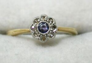 Victorian Beuatiful 18 Carat Gold Sapphire And Diamond Daisy Cluster Ring Size H